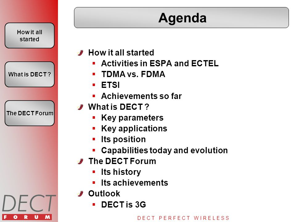D E C T P E R F E C T W I R E L E S S Agenda How it all started  Activities in ESPA and ECTEL  TDMA vs. FDMA  ETSI  Achievements so far What is DE