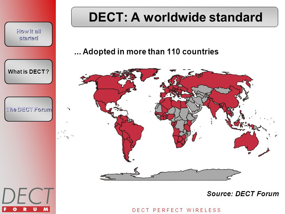 D E C T P E R F E C T W I R E L E S S Cumulative Sales by Application Source: DECT Forum How it all started How it all started What is DECT .