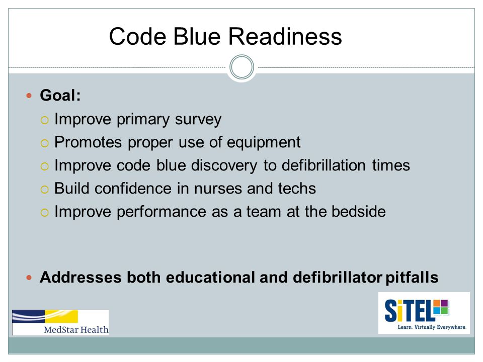 Code Blue Readiness Goal:  Improve primary survey  Promotes proper use of equipment  Improve code blue discovery to defibrillation times  Build confidence in nurses and techs  Improve performance as a team at the bedside Addresses both educational and defibrillator pitfalls