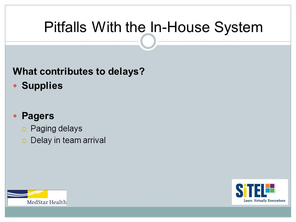 Pitfalls With the In-House System What contributes to delays.