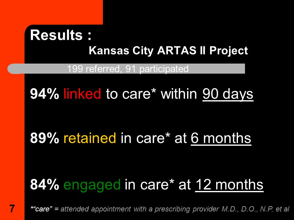 7 Results : Kansas City ARTAS II Project 94% linked to care* within 90 days 89% retained in care* at 6 months 199 referred, 91 participated 84% engaged in care* at 12 months * care = attended appointment with a prescribing provider M.D., D.O., N.P.
