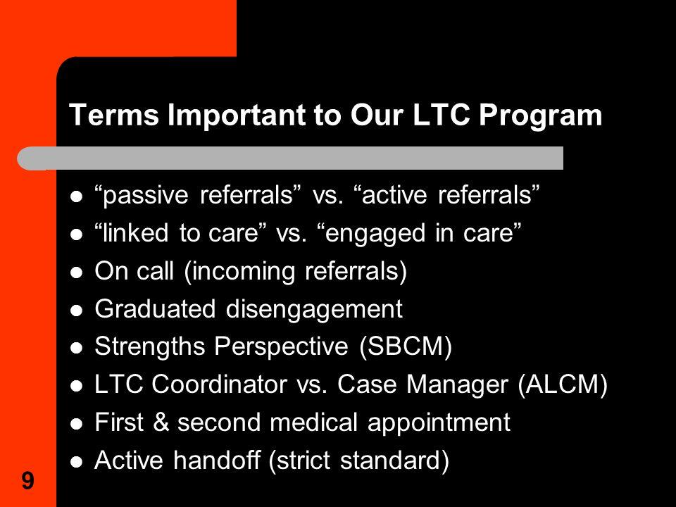 9 Terms Important to Our LTC Program passive referrals vs.
