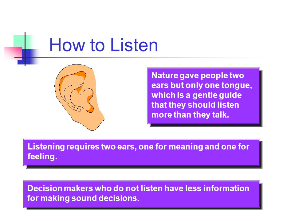 Listening Guides for Display at the Workplace Stop talking. You cannot listen if you are talking ! Put the talker at ease. Show the talker that you wa
