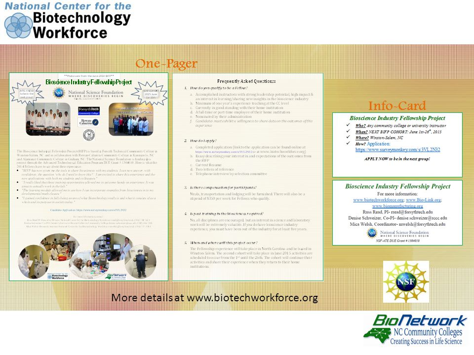 One-Pager Info-Card More details at www.biotechworkforce.org