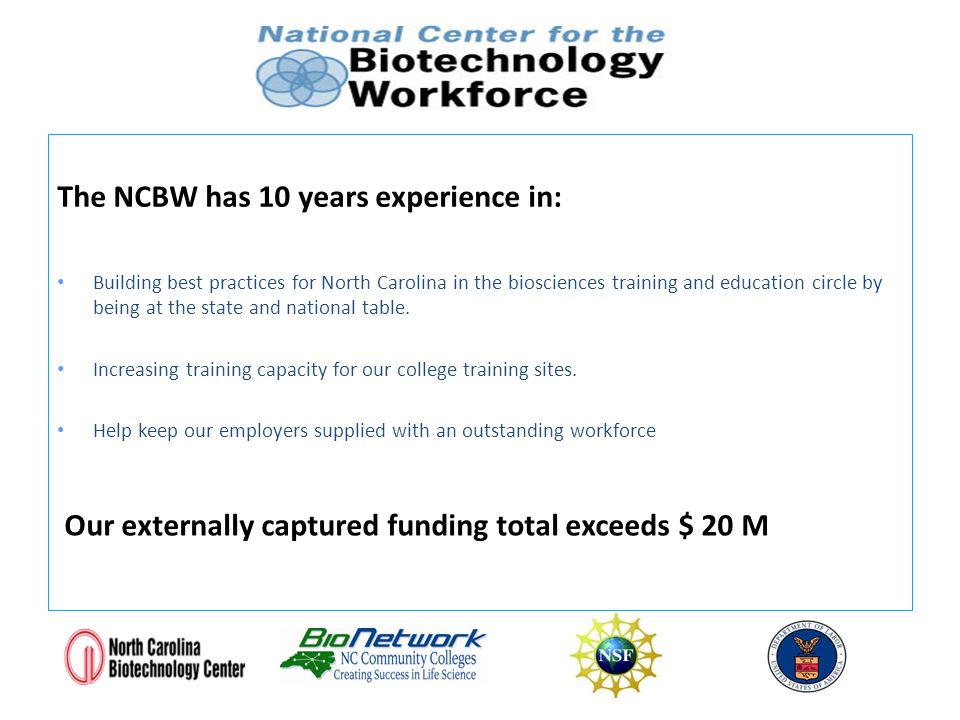 The NCBW has 10 years experience in: Building best practices for North Carolina in the biosciences training and education circle by being at the state and national table.