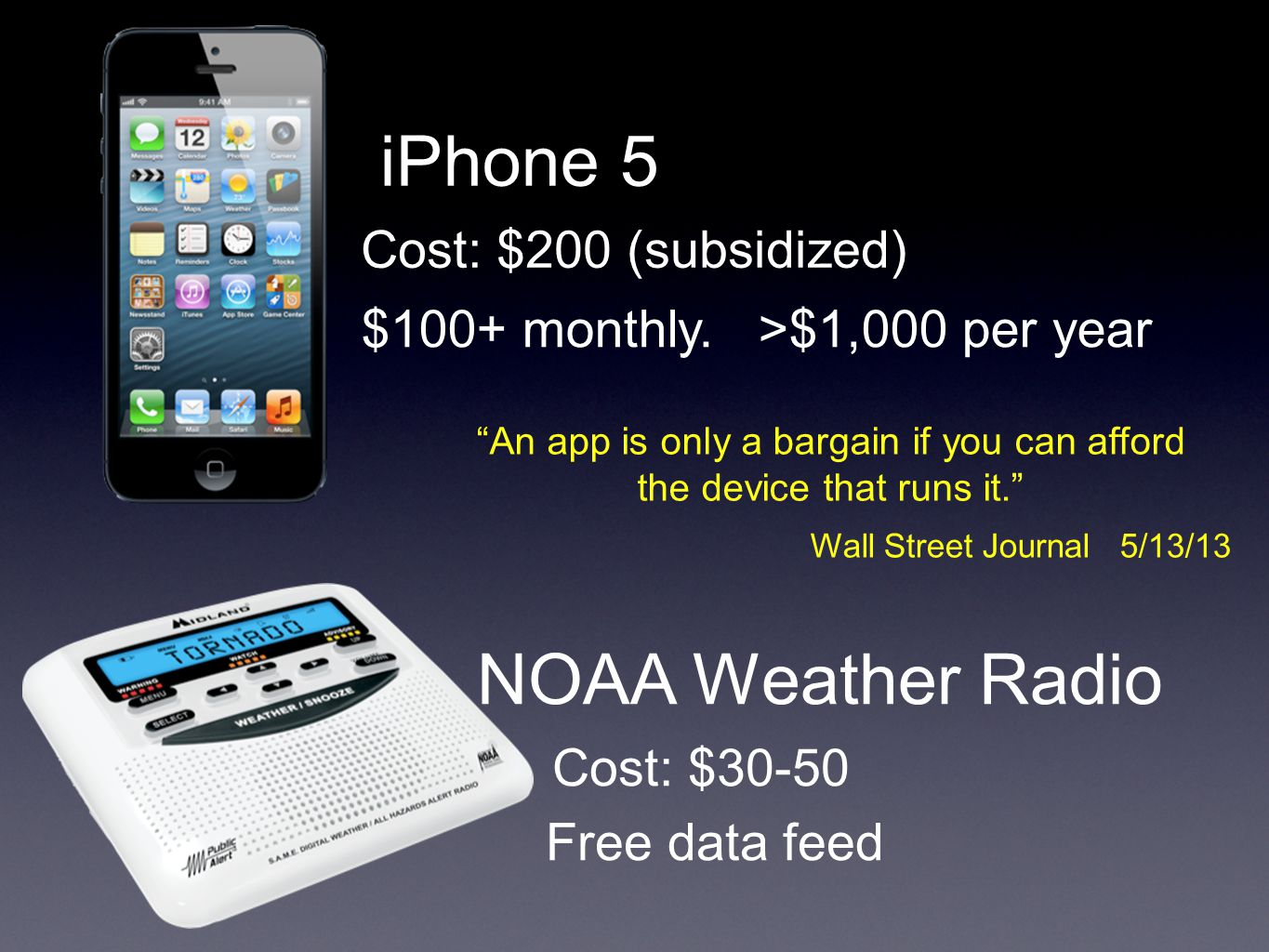 iPhone 5 Cost: $200 (subsidized) $100+ monthly.