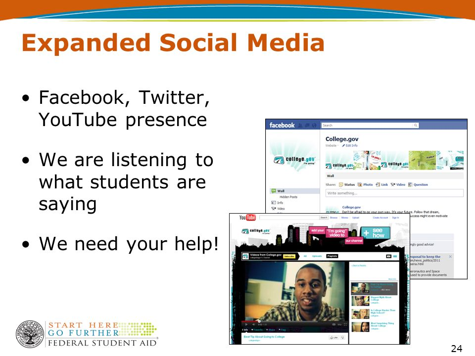 Expanded Social Media 24 Facebook, Twitter, YouTube presence We are listening to what students are saying We need your help!