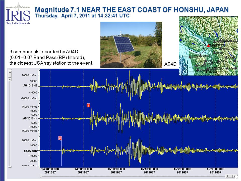 Magnitude 7.1 NEAR THE EAST COAST OF HONSHU, JAPAN Thursday, April 7, 2011 at 14:32:41 UTC 3 components recorded by A04D (0.01–0.07 Band Pass (BP) fil