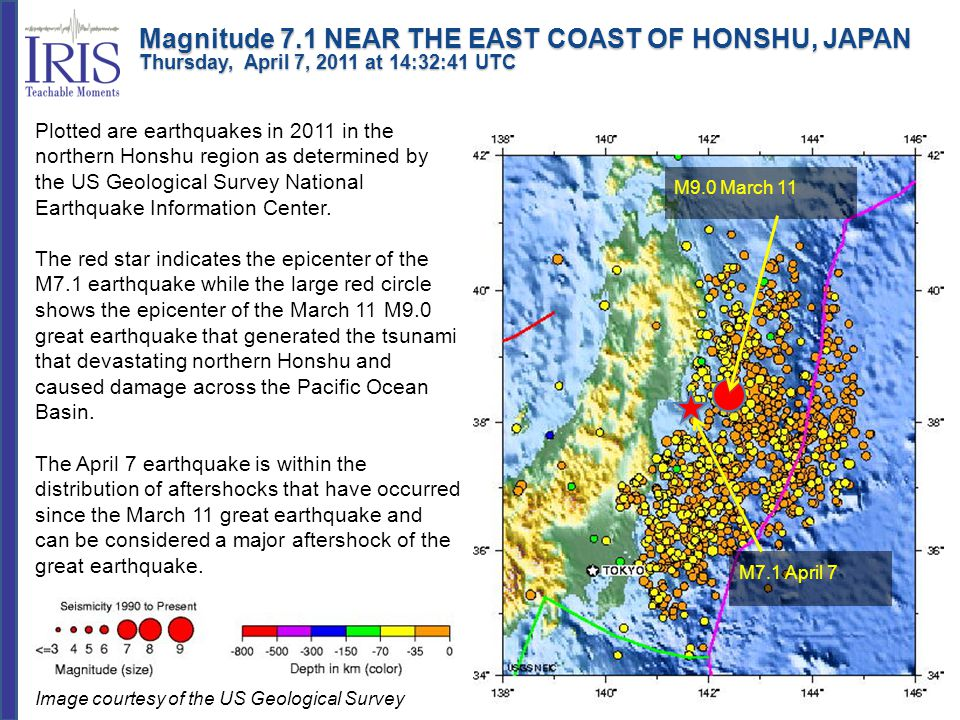 Plotted are earthquakes in 2011 in the northern Honshu region as determined by the US Geological Survey National Earthquake Information Center. The re