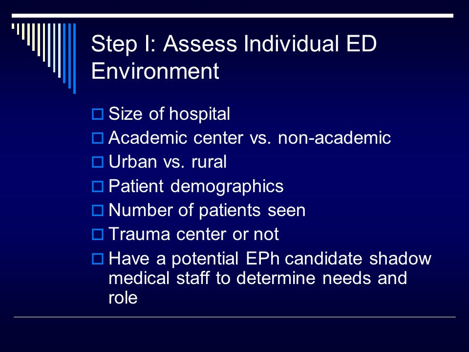 Step I: Assess Individual ED Environment  Size of hospital  Academic center vs.