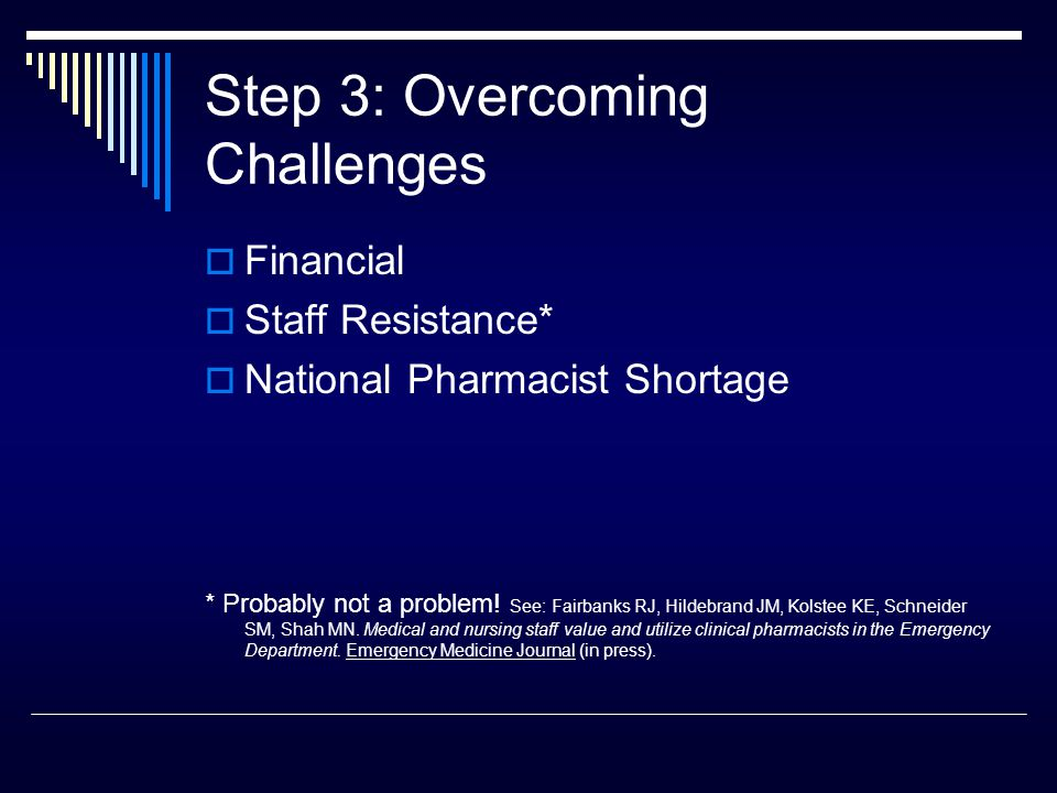 Step 3: Overcoming Challenges  Financial  Staff Resistance*  National Pharmacist Shortage * Probably not a problem.