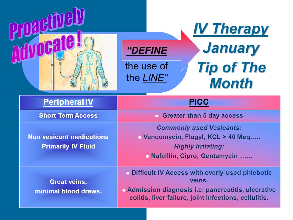 IV Therapy January Tip of The Month DEFINE the use of the LINE Peripheral IVPICC Short Term Access Greater than 5 day access Non vesicant medications Primarily IV Fluid Commonly used Vesicants: Vancomycin, Flagyl, KCL > 40 Meq…..