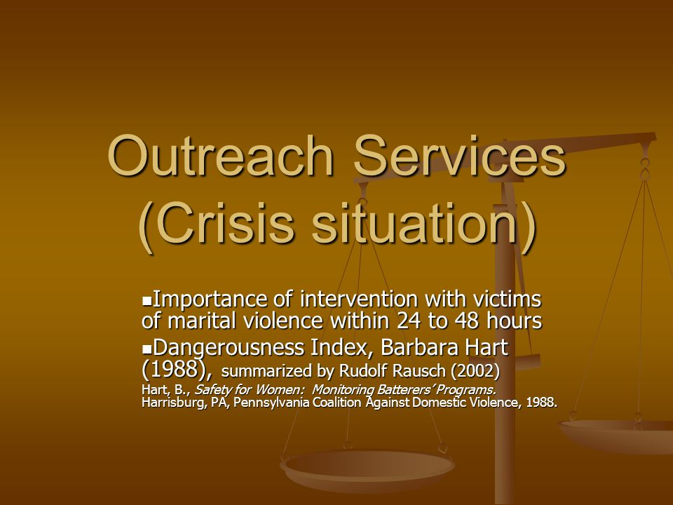 Outreach Services (Crisis situation) Importance of intervention with victims of marital violence within 24 to 48 hours Importance of intervention with