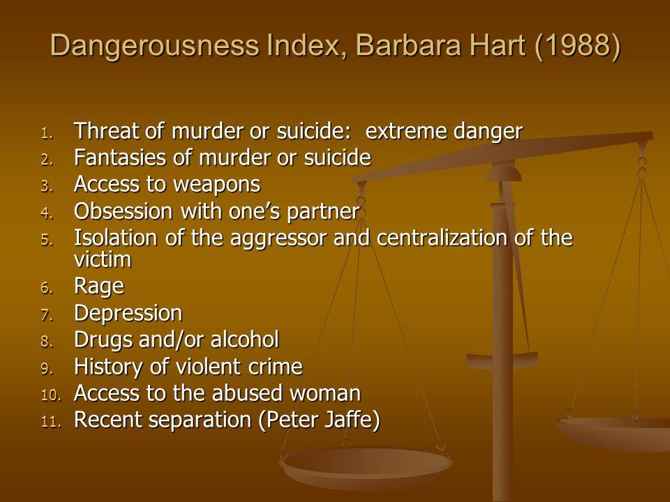 Dangerousness Index, Barbara Hart (1988) 1. Threat of murder or suicide: extreme danger 2.