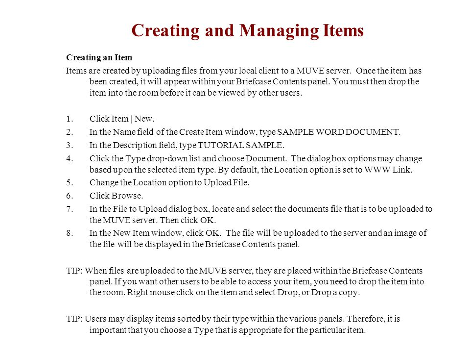 Creating an Item Items are created by uploading files from your local client to a MUVE server. Once the item has been created, it will appear within y