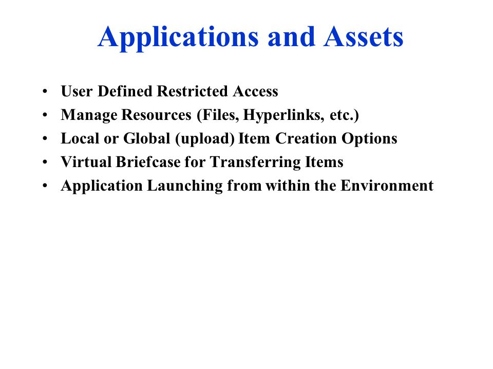 Applications and Assets User Defined Restricted Access Manage Resources (Files, Hyperlinks, etc.) Local or Global (upload) Item Creation Options Virtu