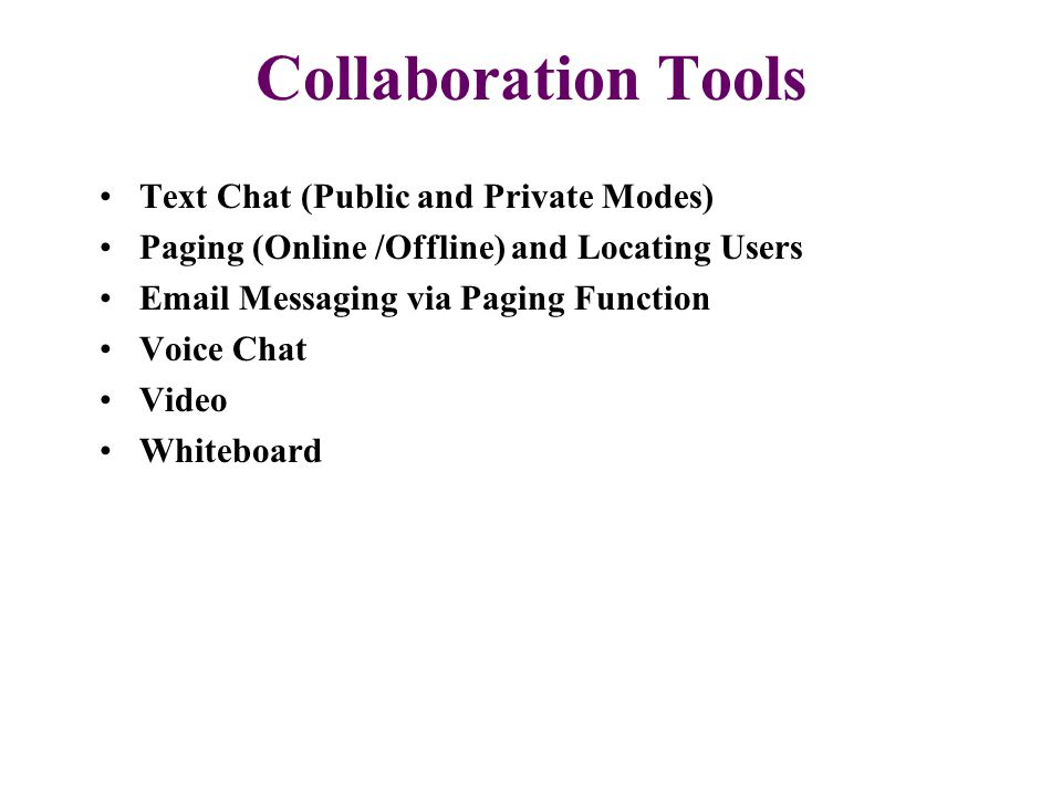 Collaboration Tools Text Chat (Public and Private Modes) Paging (Online /Offline) and Locating Users Email Messaging via Paging Function Voice Chat Vi