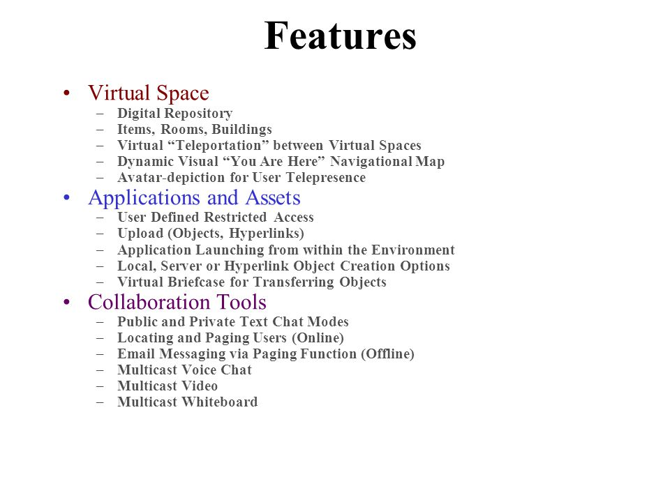 "Features Virtual Space –Digital Repository –Items, Rooms, Buildings –Virtual ""Teleportation"" between Virtual Spaces –Dynamic Visual ""You Are Here"" Nav"