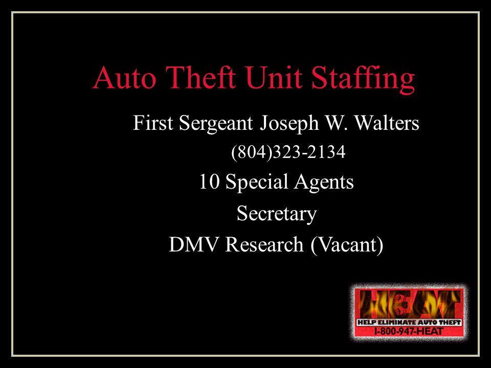 Auto Theft Unit Staffing First Sergeant Joseph W.