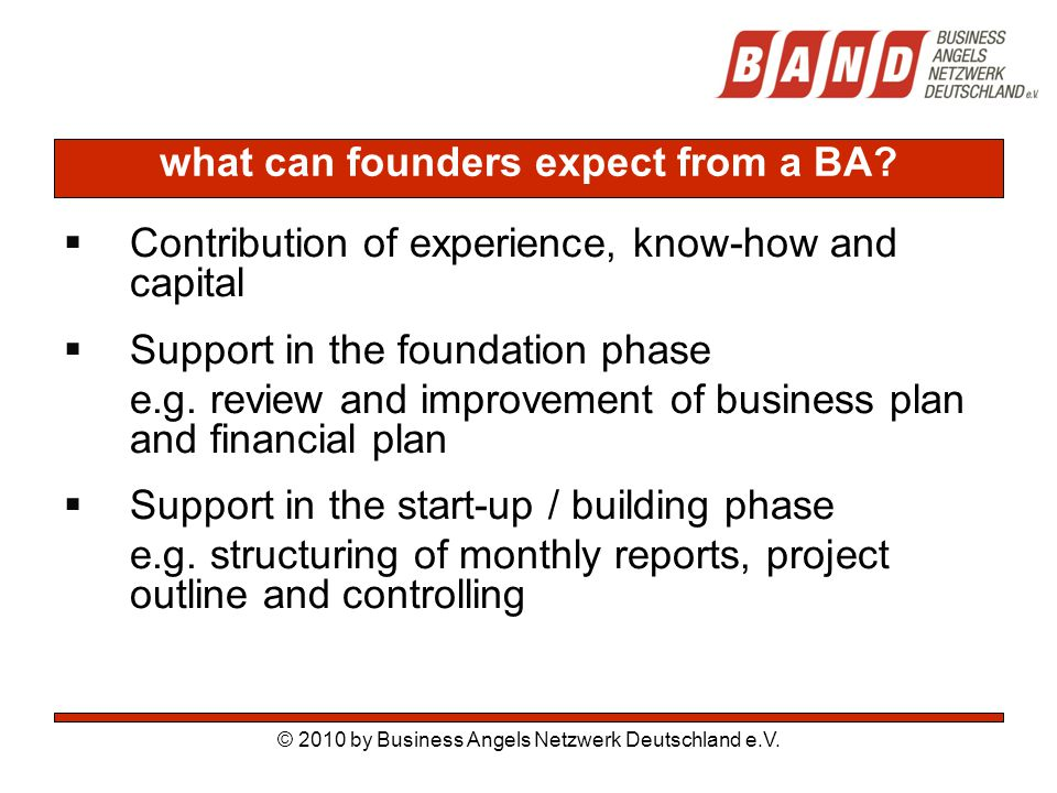 what can founders expect from a BA.
