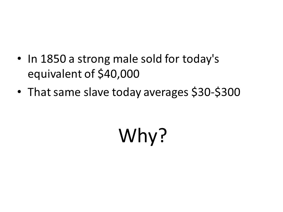 In 1850 a strong male sold for today s equivalent of $40,000 That same slave today averages $30-$300 Why