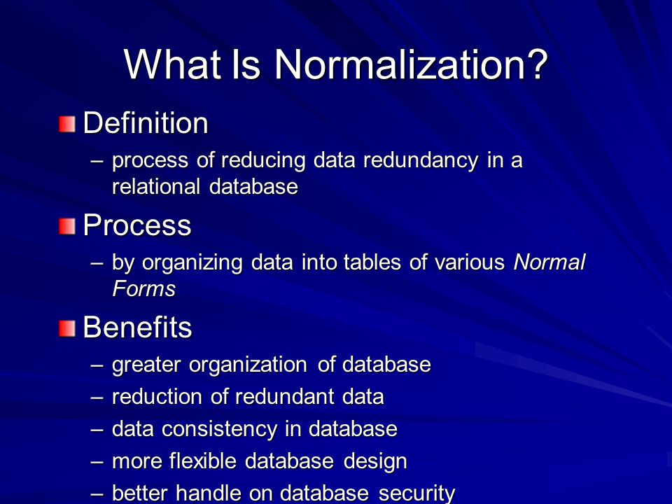 What Is Normalization.