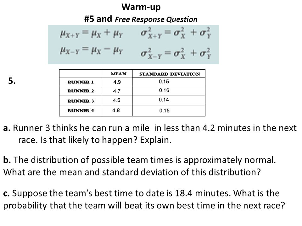 Warm-up #5 and Free Response Question a.