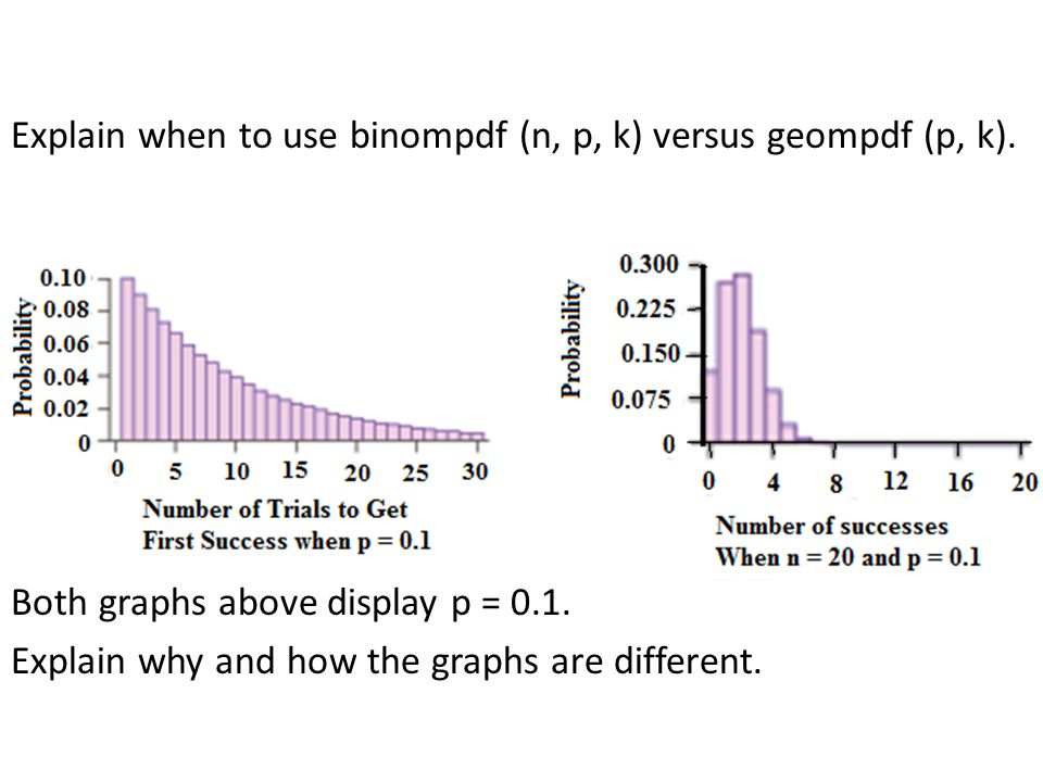 Explain when to use binompdf (n, p, k) versus geompdf (p, k).