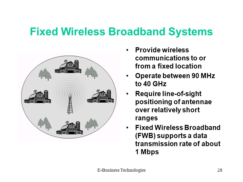 E-Business Technologies28 Fixed Wireless Broadband Systems Provide wireless communications to or from a fixed location Operate between 90 MHz to 40 GHz Require line-of-sight positioning of antennae over relatively short ranges Fixed Wireless Broadband (FWB) supports a data transmission rate of about 1 Mbps