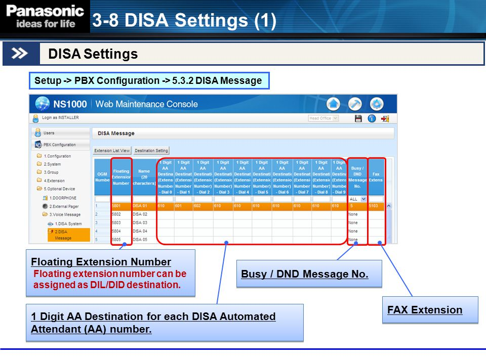 DISA Settings 3-8 DISA Settings (1) Setup -> PBX Configuration -> 5.3.2 DISA Message Floating Extension Number Floating extension number can be assign