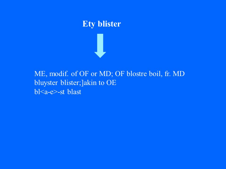 ME, modif. of OF or MD; OF blostre boil, fr.