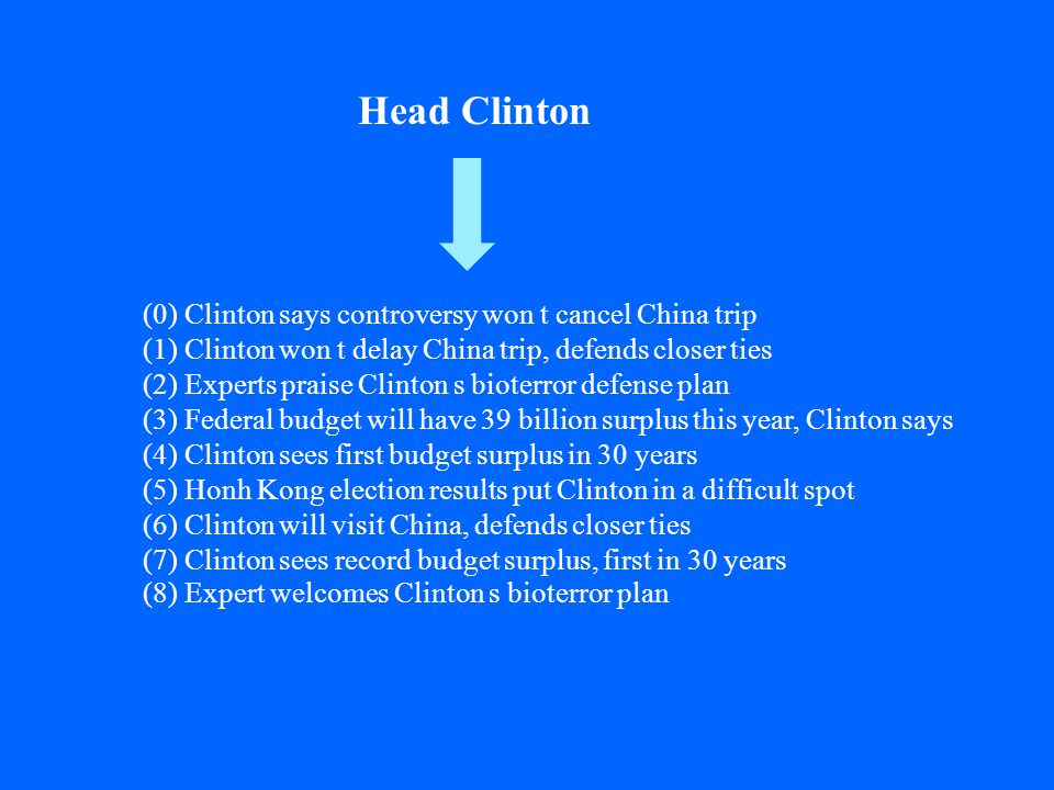 (0) Clinton says controversy won t cancel China trip (1) Clinton won t delay China trip, defends closer ties (2) Experts praise Clinton s bioterror defense plan (3) Federal budget will have 39 billion surplus this year, Clinton says (4) Clinton sees first budget surplus in 30 years (5) Honh Kong election results put Clinton in a difficult spot (6) Clinton will visit China, defends closer ties (7) Clinton sees record budget surplus, first in 30 years (8) Expert welcomes Clinton s bioterror plan Head Clinton