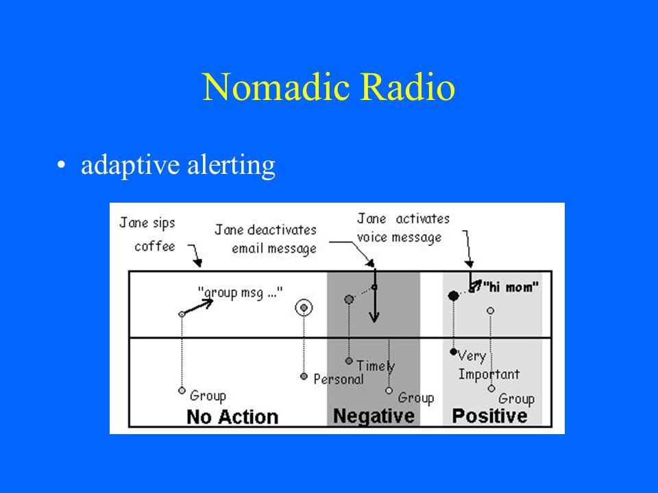 Nomadic Radio adaptive alerting