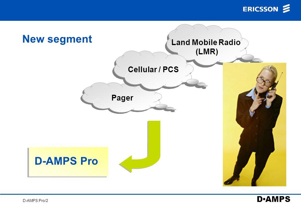 D AMPS D-AMPS Pro/2 New segment Pager D-AMPS Pro Land Mobile Radio (LMR) Cellular / PCS