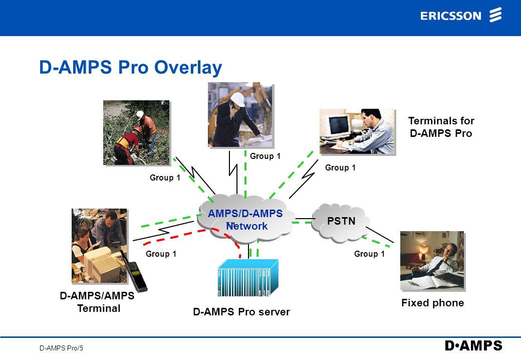 D AMPS D-AMPS Pro/5 D-AMPS Pro Overlay Terminals for D-AMPS Pro T-1 D-AMPS/AMPS Terminal D-AMPS Pro server AMPS/D-AMPS Network Fixed phone PSTN Group 1