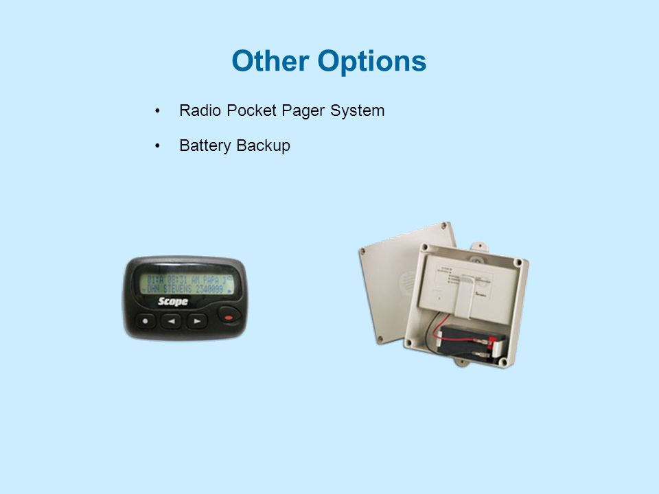 Other Options Radio Pocket Pager System Battery Backup