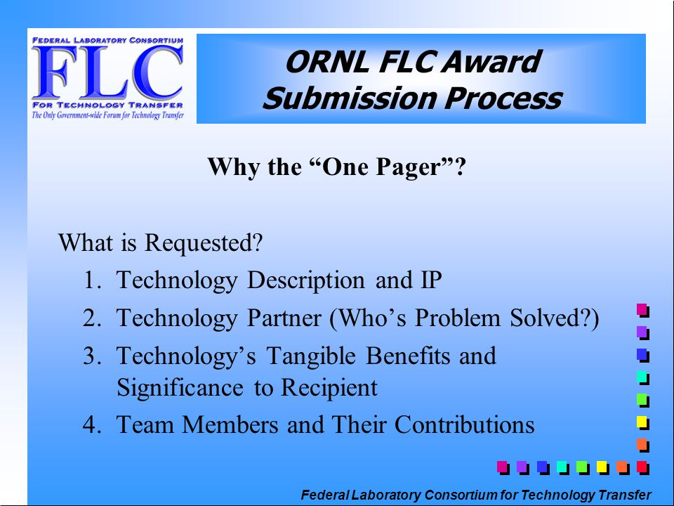 Federal Laboratory Consortium for Technology Transfer Why the One Pager .