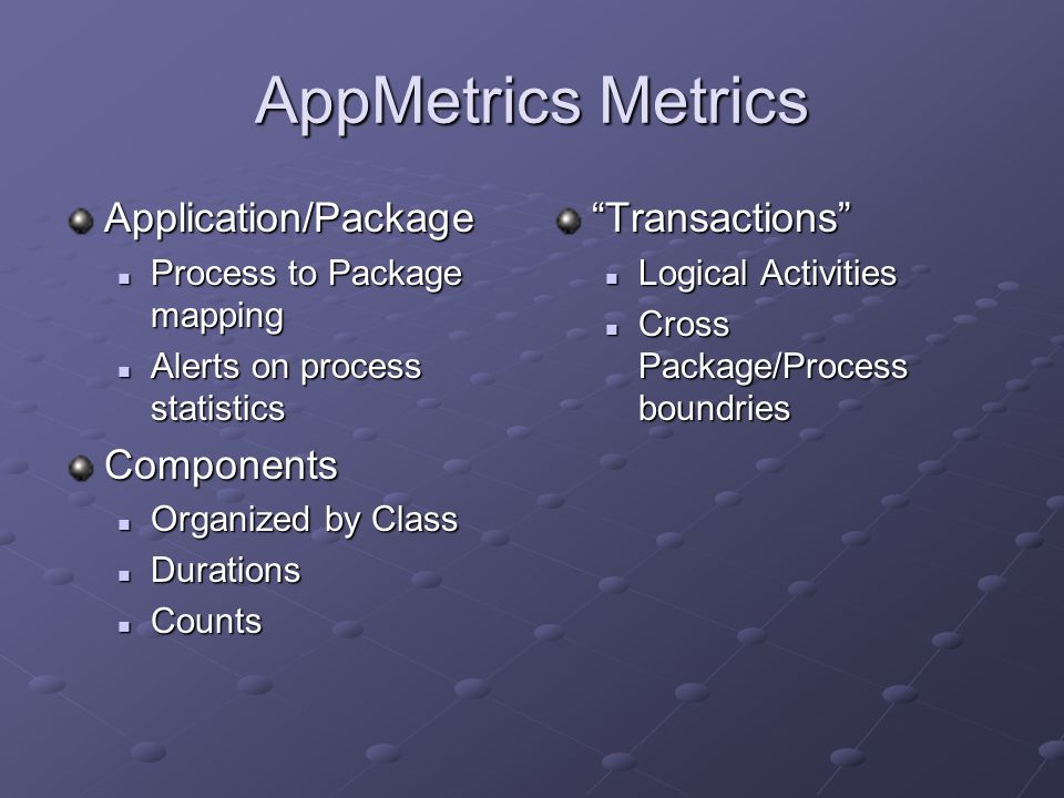 AppMetrics Metrics Application/Package Process to Package mapping Process to Package mapping Alerts on process statistics Alerts on process statisticsComponents Organized by Class Organized by Class Durations Durations Counts Counts Transactions Logical Activities Cross Package/Process boundries
