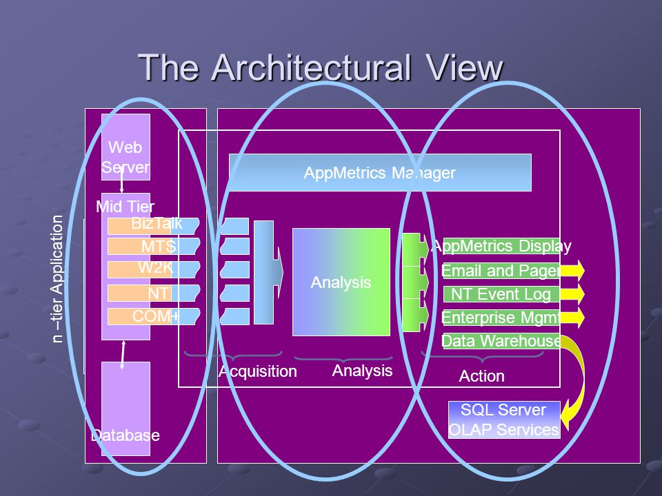 The Architectural View Mid Tier Analysis Enterprise Mgmt NT Event Log AppMetrics Display Email and Pager Data Warehouse Acquisition Action AppMetrics Manager MTS NT COM+ SQL Server OLAP Services Analysis Database Web Server n –tier Application W2K BizTalk