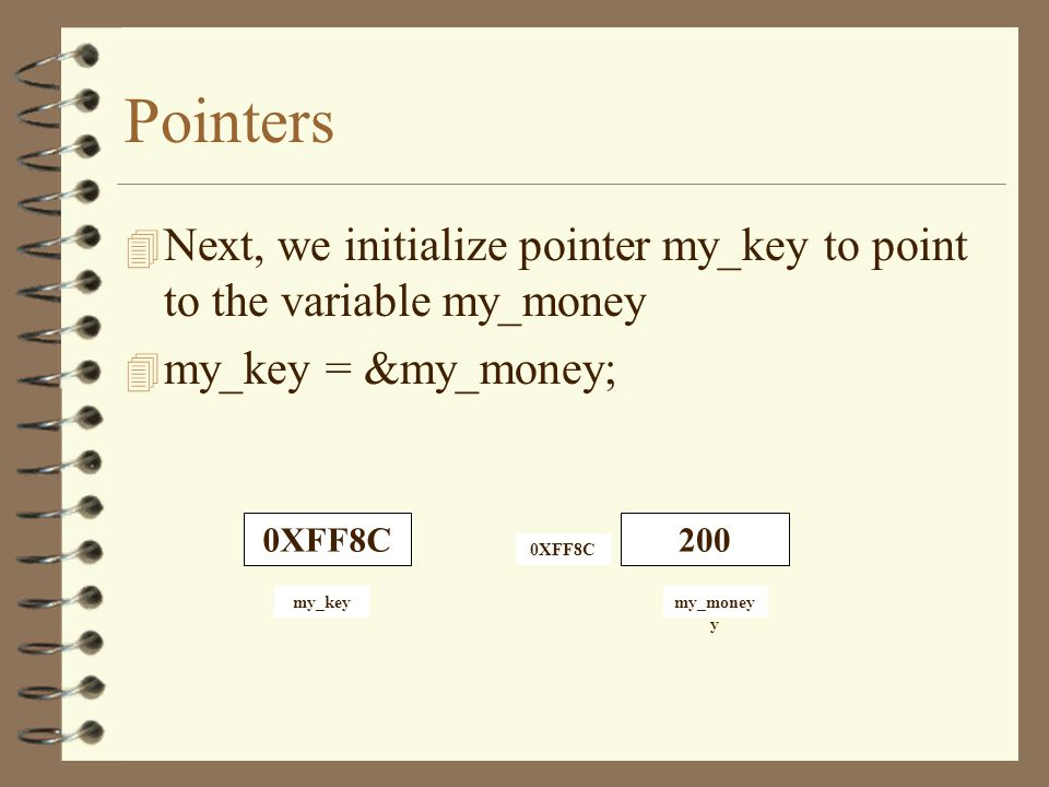 Pointers 4 Now assume that memory location 0XFF8C is reserved by the system for the variable my_money 4 Location 0XFF8C contains the value 200 4 Next, we declare a pointer variable my_key 4 int *my_key; 4 It means that my_key will hold the address of an integer variable