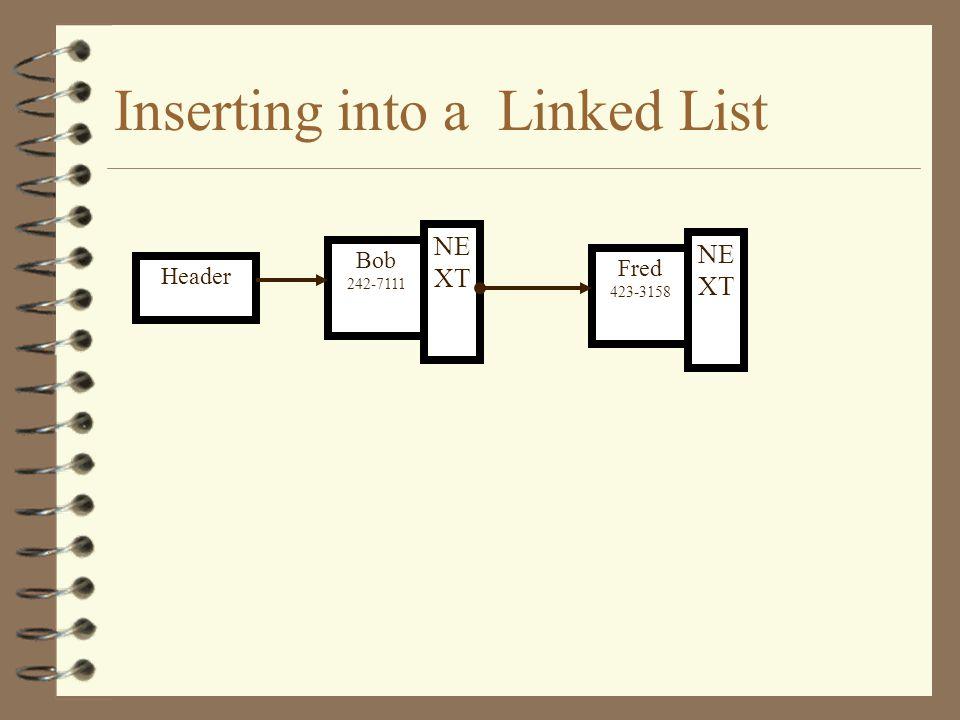 Inserting into a Linked List Header Fred 423-3158 NE XT Bob 242-7111 New Entry NE XT