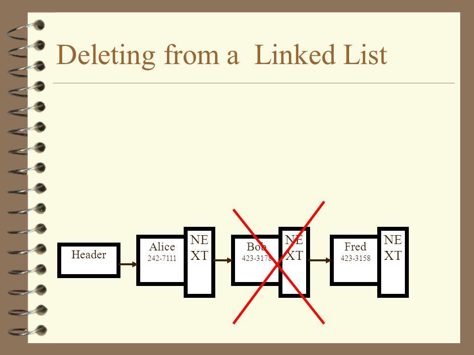 Inserting into a Linked List Header Fred 423-3158 NE XT Bob 242-7111 NE XT