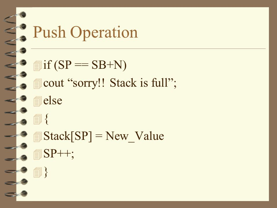 Push Operation 4 Stack[SP] = New Value 4 SP++; 4 The stack has a fixed maximum size of N locations.