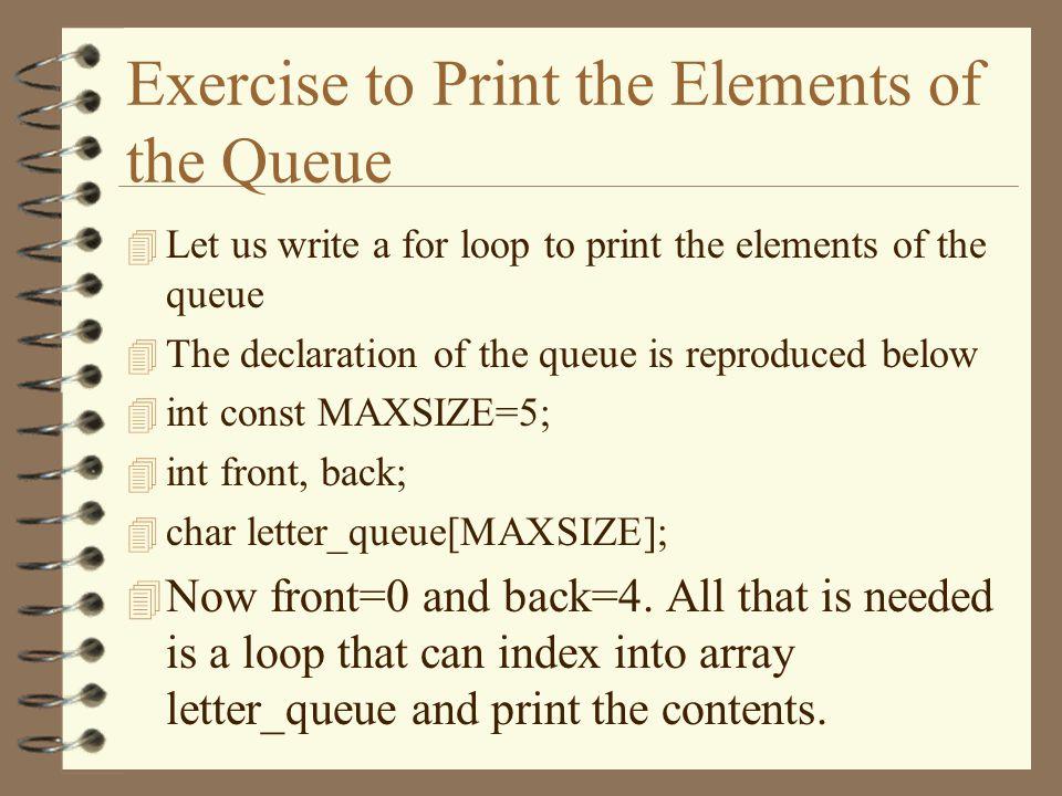 A Queue With 4 Elements A B C D letter_queue 01234 front=0back=4