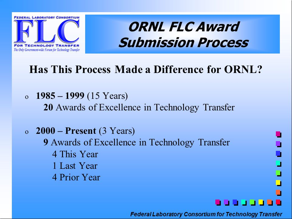 Federal Laboratory Consortium for Technology Transfer ORNL FLC Award Submission Process Has This Process Made a Difference for ORNL.