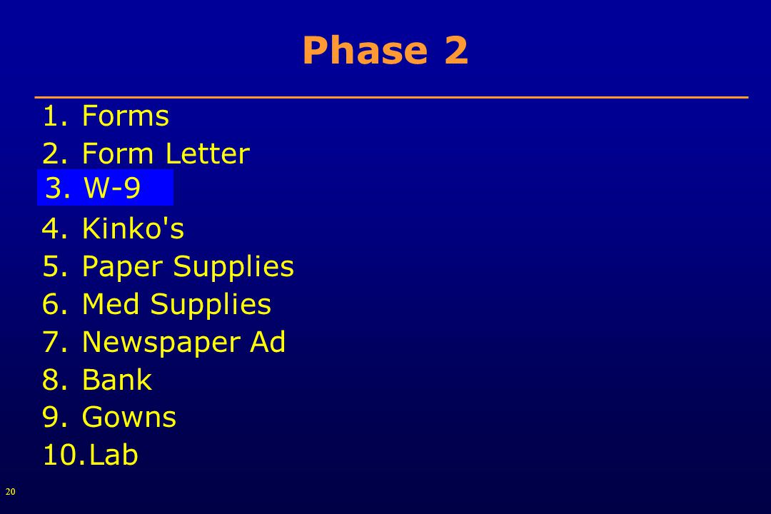 20 Phase 2 1.Forms 2.Form Letter 3.W-9 4.Kinko s 5.Paper Supplies 6.Med Supplies 7.Newspaper Ad 8.Bank 9.Gowns 10.Lab 3.