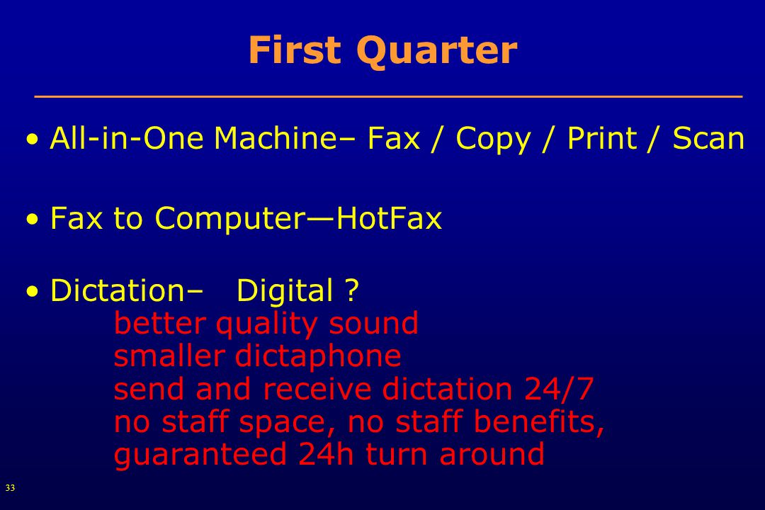 33 First Quarter All-in-One Machine– Fax / Copy / Print / Scan Fax to Computer—HotFax Dictation– Digital .