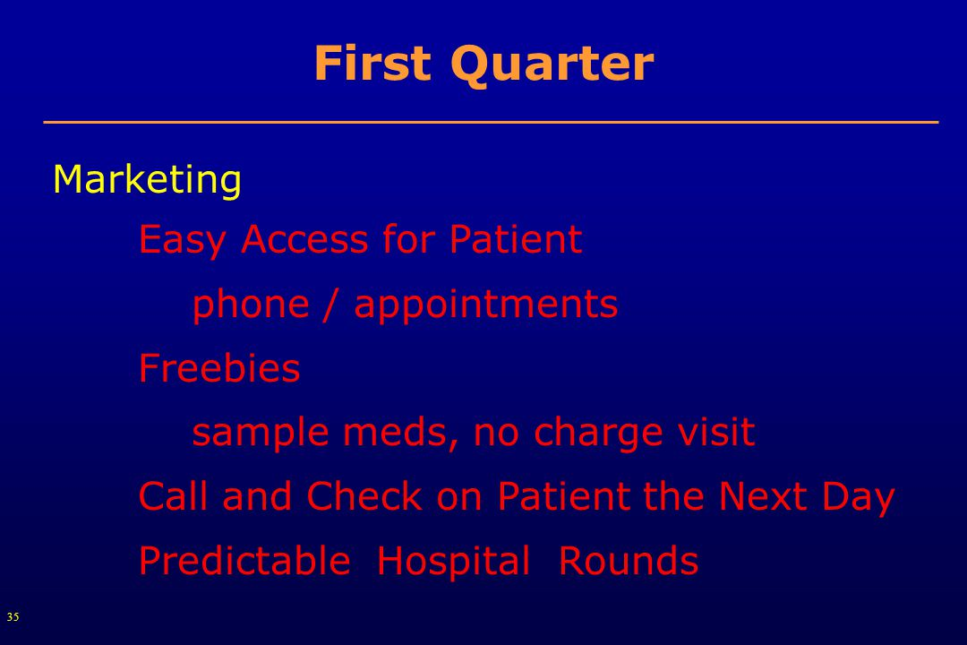 35 First Quarter Marketing Easy Access for Patient phone / appointments Freebies sample meds, no charge visit Call and Check on Patient the Next Day Predictable Hospital Rounds