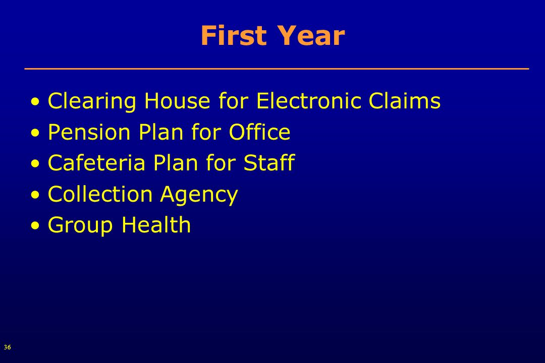 36 First Year Clearing House for Electronic Claims Pension Plan for Office Cafeteria Plan for Staff Collection Agency Group Health