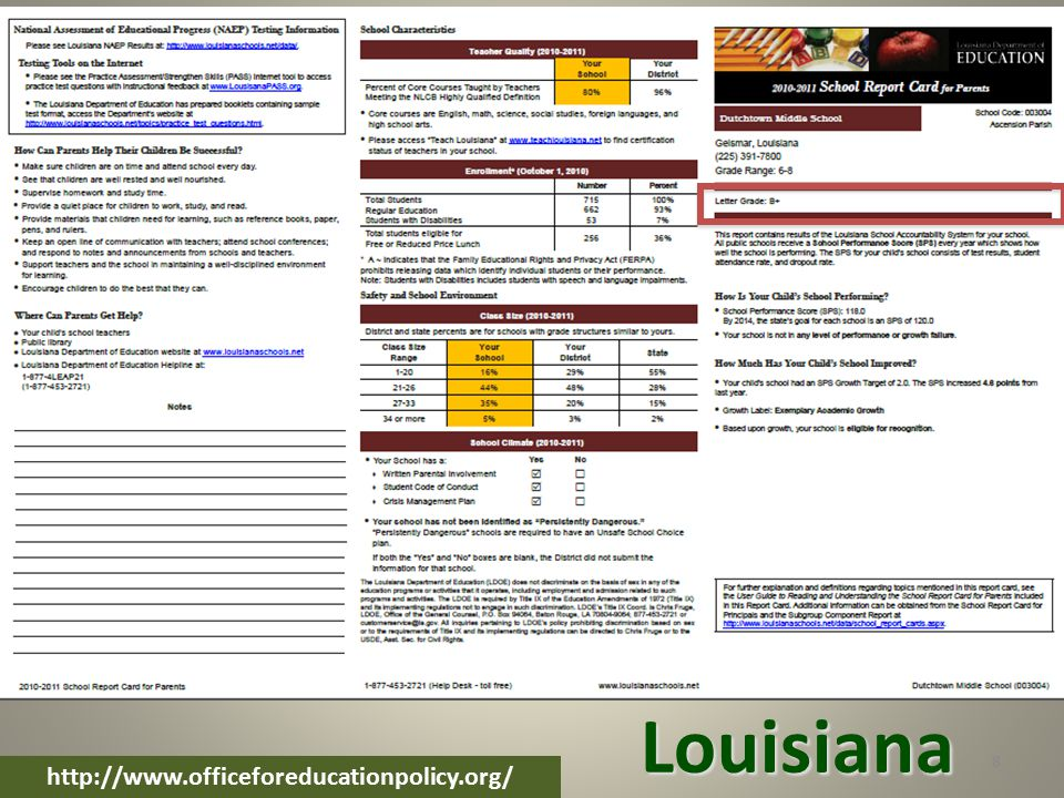 8 http://www.officeforeducationpolicy.org/ Louisiana
